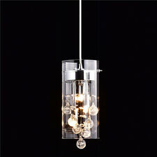 Modern Cylinder Glass Bubble Crystal Pendant Lighting Fixture 3-Light, Chrome