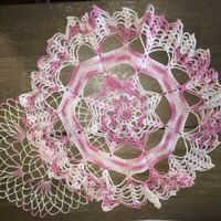 "Lot of 2 Vintage Hand Crocheted Pink Doilies 9"" & 14"" Round Cotton Handmade EUC"