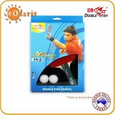 Double Fish 3A Table Tennis Bat Ping Pong Racket & 2 Balls Set Shakehand Handle