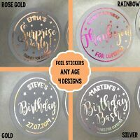PERSONALISED Party STICKERS FOIL Birthday Gold 1st 18th 21st 30th 50th 60th 80th