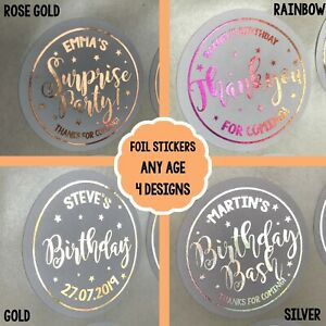 PERSONALISED Party STICKERS FOIL Birthday Gold 1st 18th 21st 30th 50th Lockdown