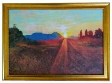 Turkish Sunset Original Painting Framed Landscape Turkey Mountains Trees Sun Art