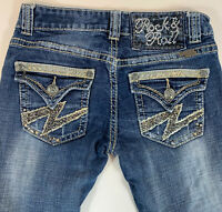 Rock & Roll Cowgirl Womens Low Rise Western Jeans Beads & Bling Sz 25x33
