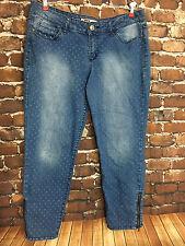 Lei Women's Jeans Ashley Low Rise Skinny Jeans Polka Dot Zipper Ankle Size 15 R