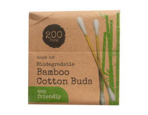 Bamboo Cotton Buds. Natural Wooden Paper Stem Eco Friendly Earbuds. Plastic Free
