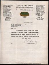 Crown Cork and Seal Co Baltimore Maryland 1930 Vintage Color Letter Head Rare