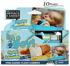 10 It's A Boy Disposable Flash One Time Use Preloaded Film Message Camera 2014 !