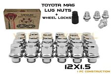24PC 12X1.5 CHROME TOYOTA OEM/FACTORY MAG LUG NUTS + WHEEL LOCK KIT