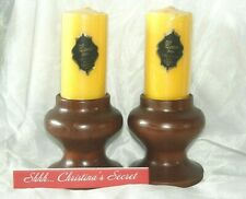 New ListingVintage Wood Candle Holders Hollywood General Wax Co. Wide Candles 2 Sets