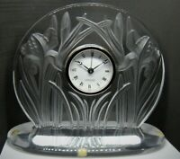 Lalique Iris Clock with Alarm - Art Nouveau - Frosted/Clear Crystal - With Box