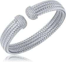 "Charles Garnier - ""Bellini"" - Sterling Silver 12mm Mesh CZ Cuff Bracelet"