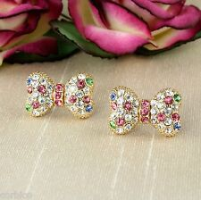 E6 Prom Party Occasion Gold Plated Multi-coloured Bow Knot Crystal Stud Earrings