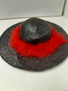 Black Straw Hat with Red Trim A17