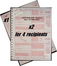 2020 Irs Tax Form 1099-Nec Carbonless for 4 recipients + (1) 1096 -> No Env
