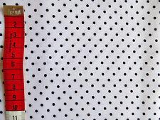 "Tela de Algodón Blanco Polka 3mm Black Dot 55"" de ancho por metros shabby chic Crafts"