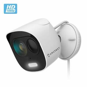Amcrest SmartHome 1080p WiFi Outdoor Security Camera Deterrent Alarm Spotlight
