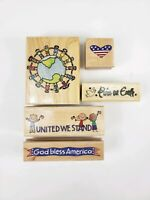 Lot of 5 Stamps God Bless America Peace on Earth Wood Rubber Stamps
