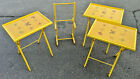SET of 3 VINTAGE Mid-Century MODERN Canary Yellow ARTEX TRAY TABLE & STAND