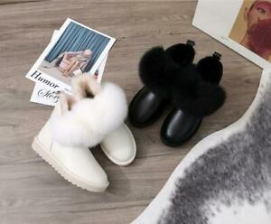 Women's Fox Fur Snow Boots Ankle Boots Casual Shoes Round Toe Warm Flats Beige