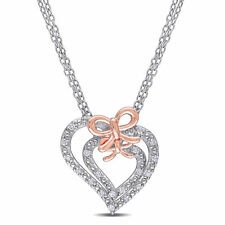 Amour Sterling Silver Diamond Heart Necklace Mother-Daughter Boxed Set