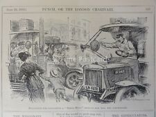1914 29th July LONDON STREETS - IRATE LONDON TAXI & BUS DRIVERS Punch Cartoon