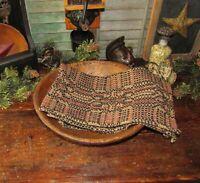 Prim Antique Vtg Style Mount Vernon Blk Red Cotton Woven COVERLET RUNNER RQ4BSR