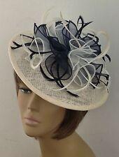 Bespoke Cream/Navy Blue Hat Fascinator Mother Of The Bride/Groom Weddings Races