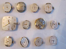LOT OF (12) VINTAGE WATCH MOVEMENTS: GRUEN, HAMILTON, BULOVA MORE - PARTS ONLY -