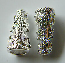 25pcs 9x19mm Metal Alloy Spacer Bead Cones - Bright Silver