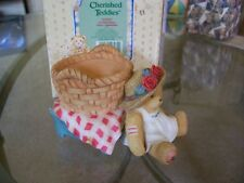 Cherished Teddies Girl in Basket Candle Holder