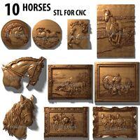 3d stl model cnc router artcam aspire 10 pcs horses collection basrelief
