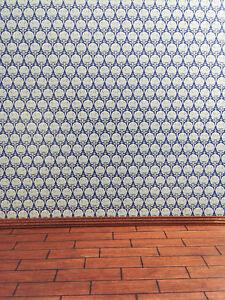 """Dollhouse Miniature Wallpaper Jackson's Art Nouveau """"Ottoman Blue"""" 1:12 Scale"""