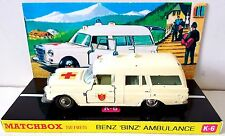 Lesney MATCHBOX Diecast KING SIZE K-6 BENZ BINZ AMBULANCE & Custom Box Display x