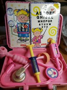 2006 Fisher Price Doctor Bag Nurse Kit Dr. Pink Tote + Accessories