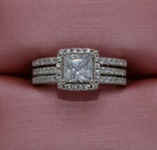 Wedding/Engagement Ring Size 5 Fashion Halo Cz 2 Pc.