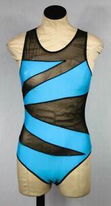 Fredericks of Hollywood Black Blue Mesh Jumper One Piece Body Suit Sz S NWOT