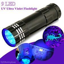 9LED Mini UV Ultraviolet Pen Torch Light Flashlight Hunting Lamp Blacklight New