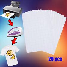 20 Sheet IRON ON TEE T-Shirt Light Fabrics Transfer A4 Paper for Inkjet Printers
