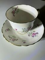 CROWN STAFFORDSHIRE TEA CUP & SAUCER FINE BONE CHINA ENGLAND FLOWERS