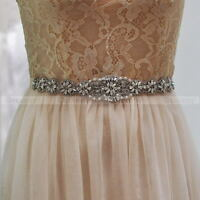 New Vintage Bridal Handmade Pearl Sash Crystal Rhinestones Wedding Dress Belt