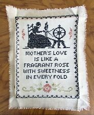 Vintage 1930's Vogue Pattern Finished Linen Cross Stitch Sampler MOTHER'S LOVE!