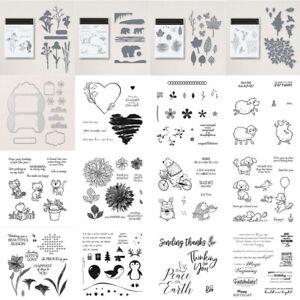 Animal Flower Leaves Set Metal Cutting Dies Clear Stamp Diy Scrapbooking Cards