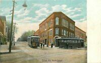Calais Maine North Street Trolleys Leighton C-1910 Postcard 9030