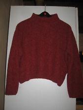 Pull chiné court et ample - rouge brique - 15% laine - - 42/44