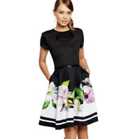 Ted Baker London Sz1 US Sz4 Vidaa Forget Me Not Trellis Skater Dress  $448