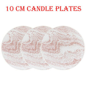 10cm Round Mirrored Glass Rose Gold Glitter Sparkle Candle Plate pack of 1,2 & 3
