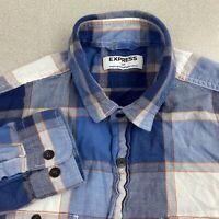 Express Button Up Shirt Mens S Blue Orange Long Sleeve Plaid Double Chest Pocket
