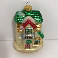 Blown Glass Christmas Ornament House Two Story Winter Home Snow Holiday 3x3.75in
