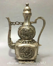"9"" Marked China Dyansty Palace Silver Kylin Dragon Water Wine Tea Pot Flagon"