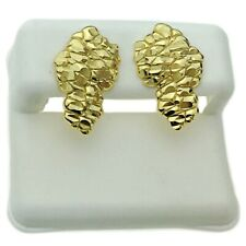 Nugget Earrings Gold Plated On 925 Sterling Silver Butterfly Stud Post Big 20MM